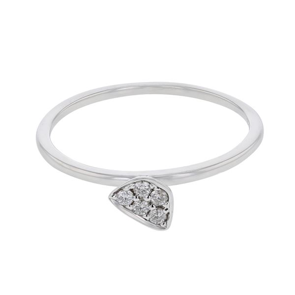 Natural 0.10 CTW Diamond Ring W=5MM 18K Gold - REF-25R2K