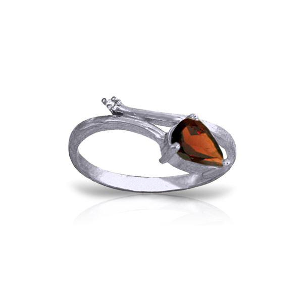 Genuine 0.83 ctw Garnet & Diamond Ring 14KT White Gold - REF-40K5V