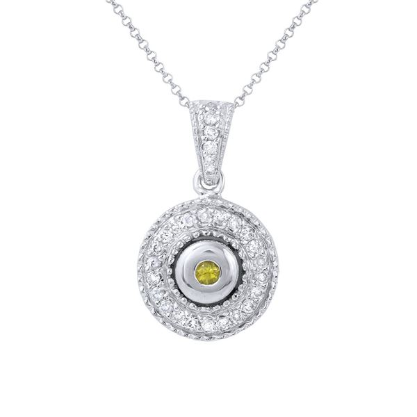 Natural 0.47 CTW Yellow Sapphire & Diamond Necklace 14K White Gold - REF-63T9X
