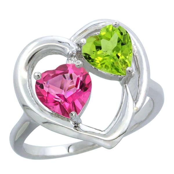 2.61 CTW Diamond, Pink Topaz & Citrine Ring 14K White Gold - REF-33V9R