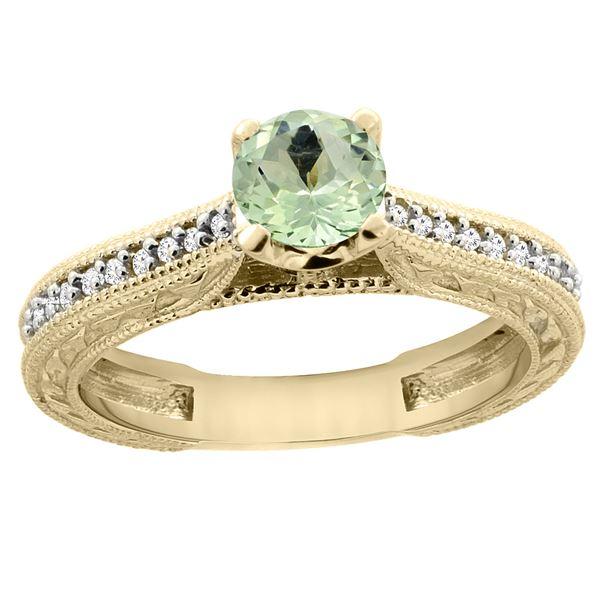 0.57 CTW Amethyst & Diamond Ring 14K Yellow Gold - REF-53W2F