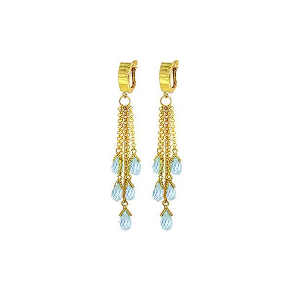 Genuine 7.3 ctw Blue Topaz Earrings 14KT Yellow Gold - REF-62K3V