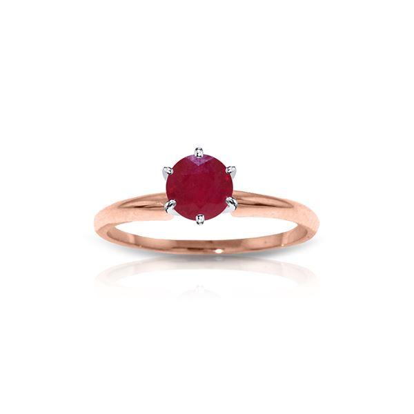 Genuine 0.65 ctw Ruby Ring 14KT Rose Gold - REF-28M5T