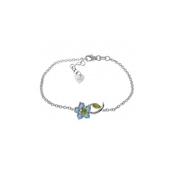 Genuine 0.87 ctw Blue Topaz & Peridot Bracelet 14KT White Gold - REF-50M5T