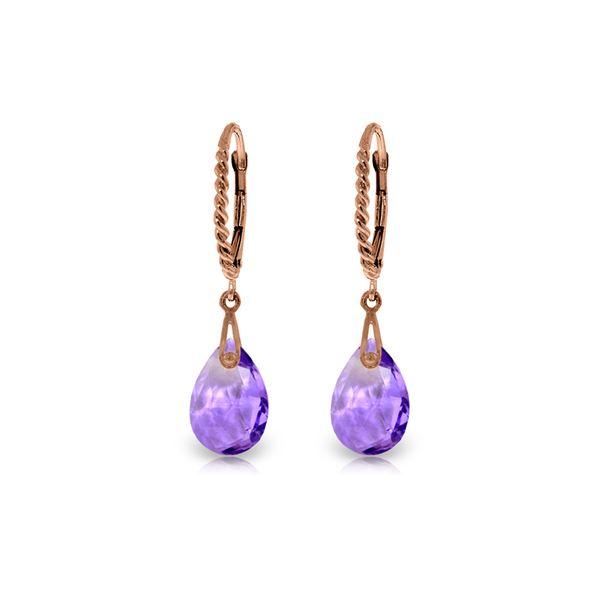 Genuine 6 ctw Amethyst Earrings 14KT Rose Gold - REF-30W6Y