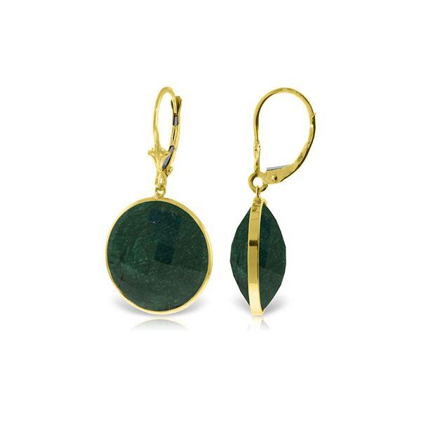 Genuine 46 ctw Green Sapphire Corundum Earrings 14KT Yellow Gold - REF-62X3M