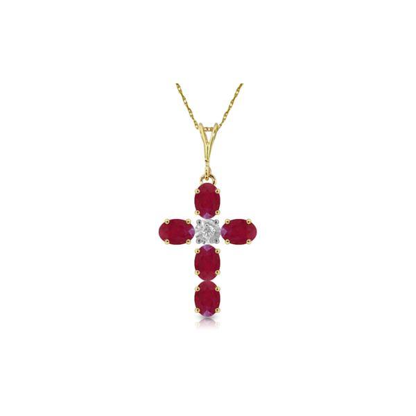 Genuine 1.75 ctw Ruby & Diamond Necklace 14KT Yellow Gold - REF-44W4Y