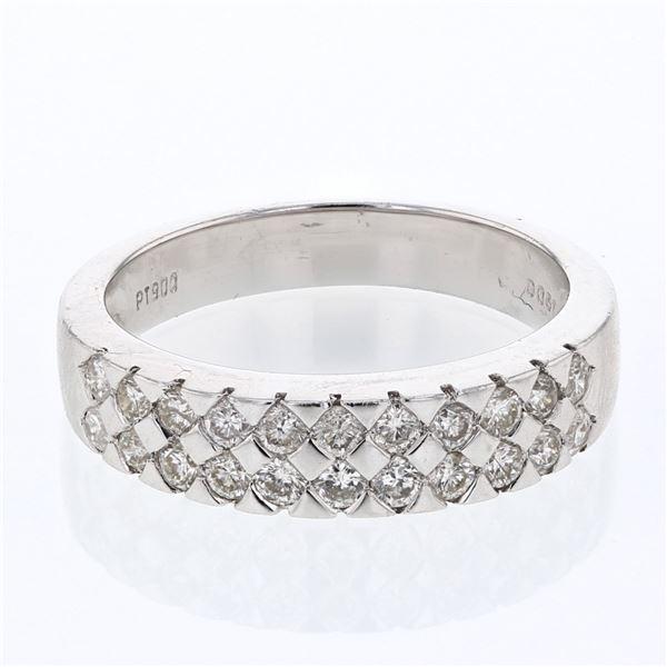 Natural 0.61 CTW Diamond Band Ring Platinum - REF-137F7M