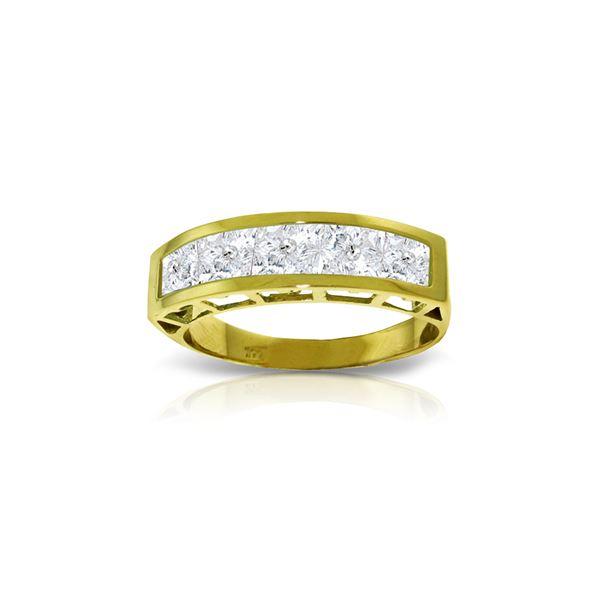 Genuine 2.25 ctw White Topaz Ring 14KT Yellow Gold - REF-54H2X