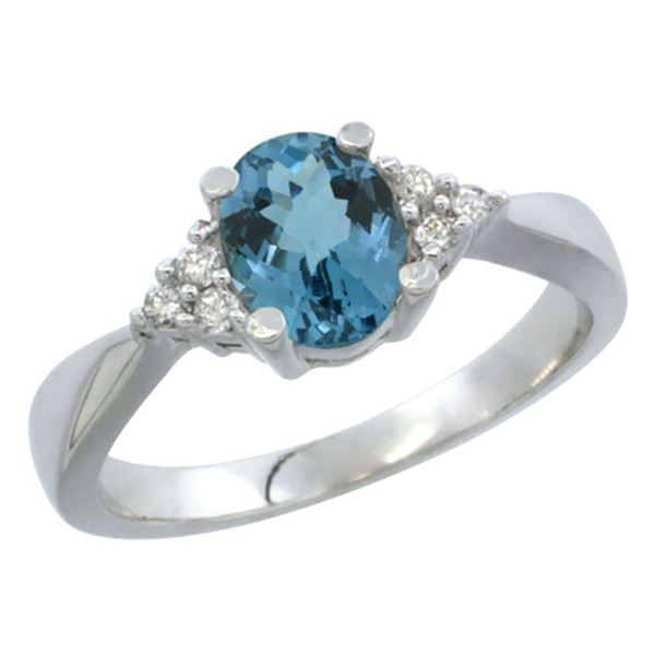 1.06 CTW London Blue Topaz & Diamond Ring 10K White Gold - REF-28F5N