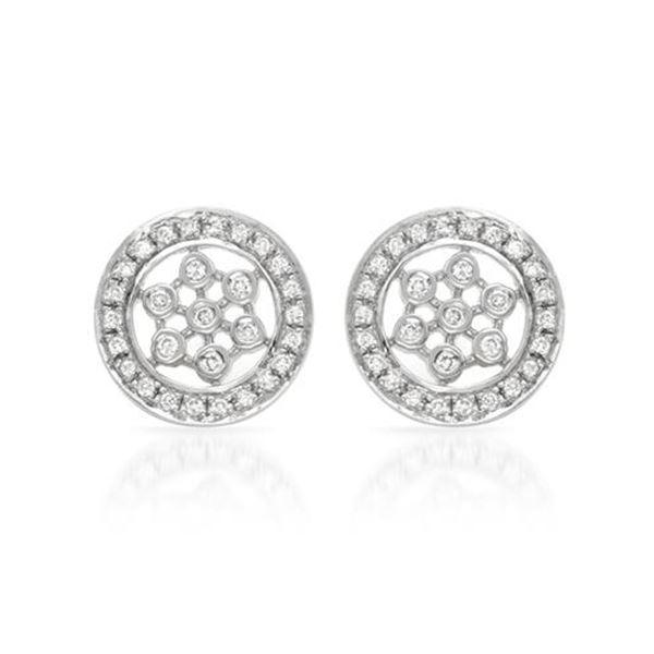Natural 0.25 CTW Diamond Earrings 14K White Gold - REF-49T5X