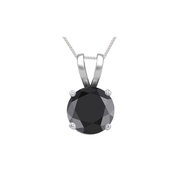 14K White Gold 0.75 ct Black Diamond Solitaire Necklace - REF-53K7Y
