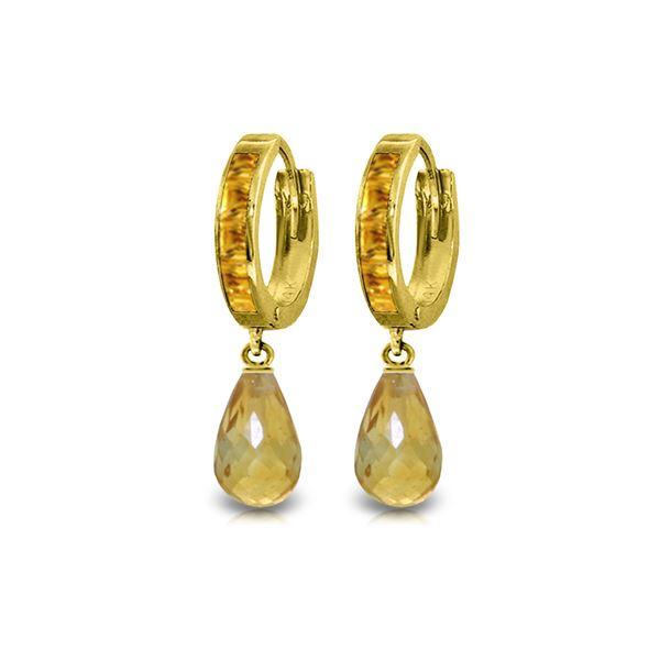 Genuine 5.35 ctw Citrine Earrings 14KT Yellow Gold - REF-43P6H
