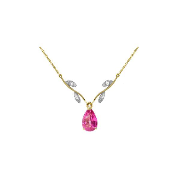 Genuine 1.52 ctw Pink Topaz & Diamond Necklace 14KT Yellow Gold - REF-31R2P