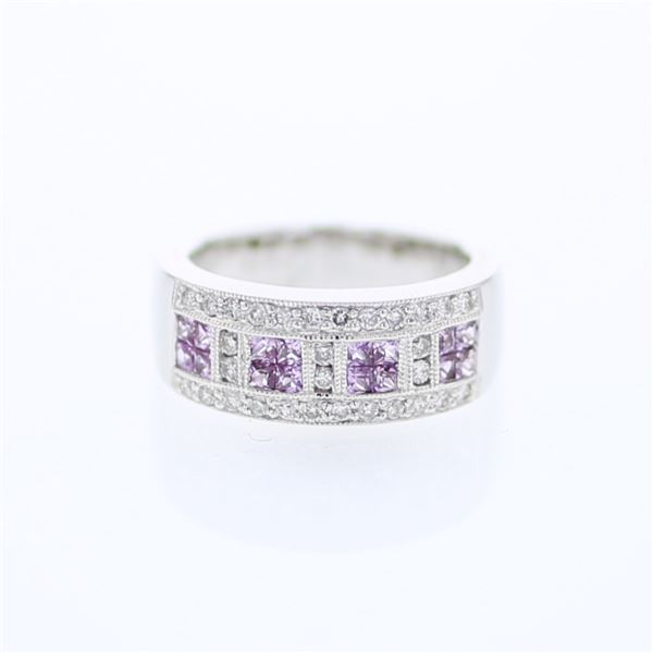 Natural 1.13 CTW Pink Sapphire & Diamond Ring 18K White Gold - REF-139T5X