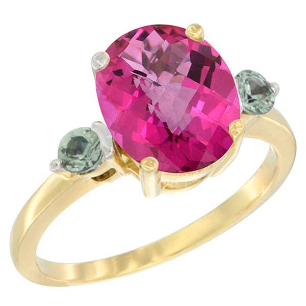 2.64 CTW Pink Topaz & Green Sapphire Ring 14K Yellow Gold - REF-32R3H