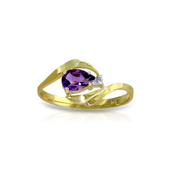 Genuine 0.41 ctw Amethyst & Diamond Ring 14KT Yellow Gold - REF-26F6Z