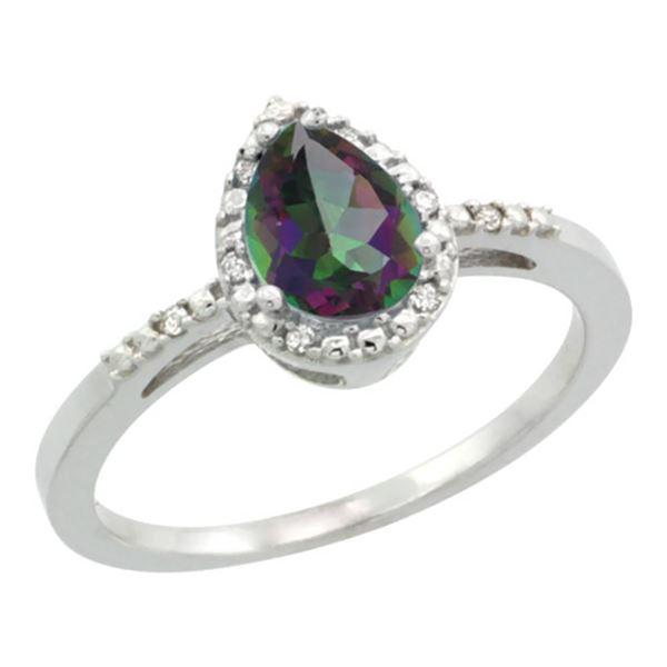 1.55 CTW Mystic Topaz & Diamond Ring 10K White Gold - REF-20K7W