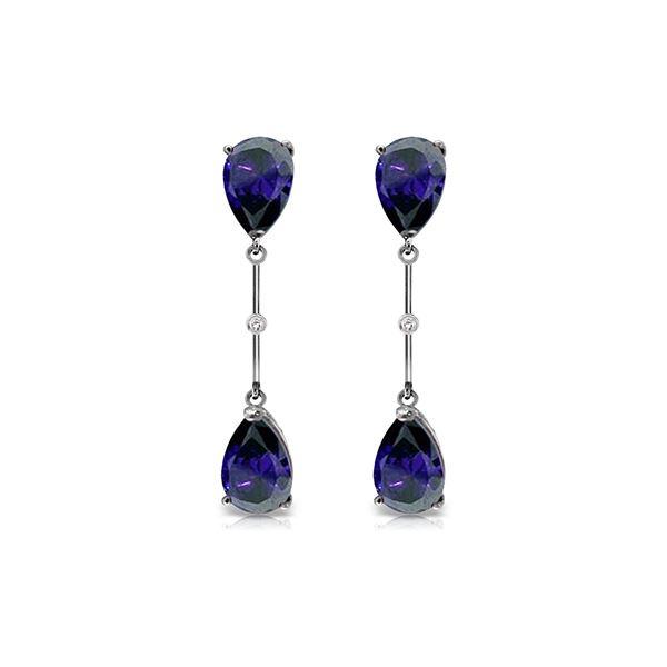 Genuine 7.01 ctw Sapphire & Diamond Earrings 14KT White Gold - REF-78K9V
