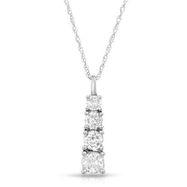 Natural 0.75 CTW Diamond Necklace 14K White Gold - REF-128F7M