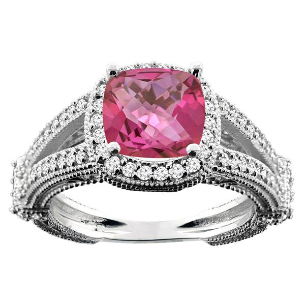 4.10 CTW Pink Topaz & Diamond Ring 10K White Gold - REF-43M5K