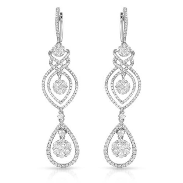 Natural 4.21 CTW Diamond Earrings 14K White Gold - REF-502N2Y