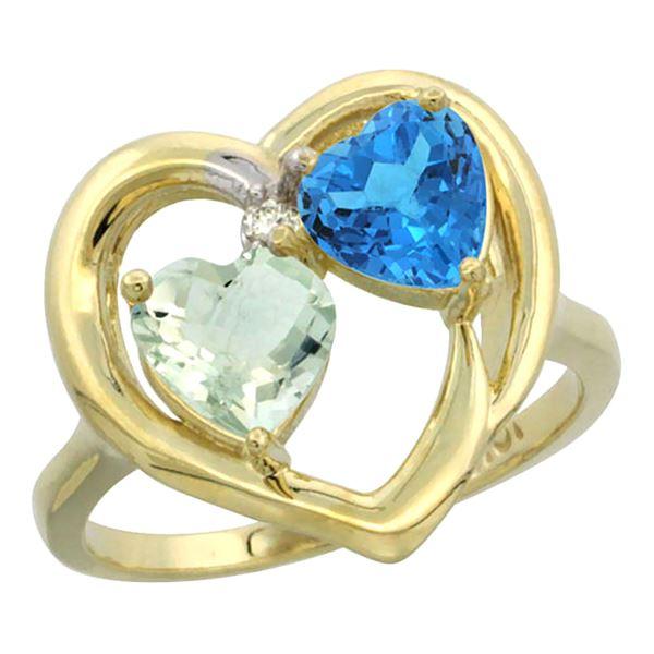 2.61 CTW Diamond, Amethyst & Swiss Blue Topaz Ring 10K Yellow Gold - REF-23K7W