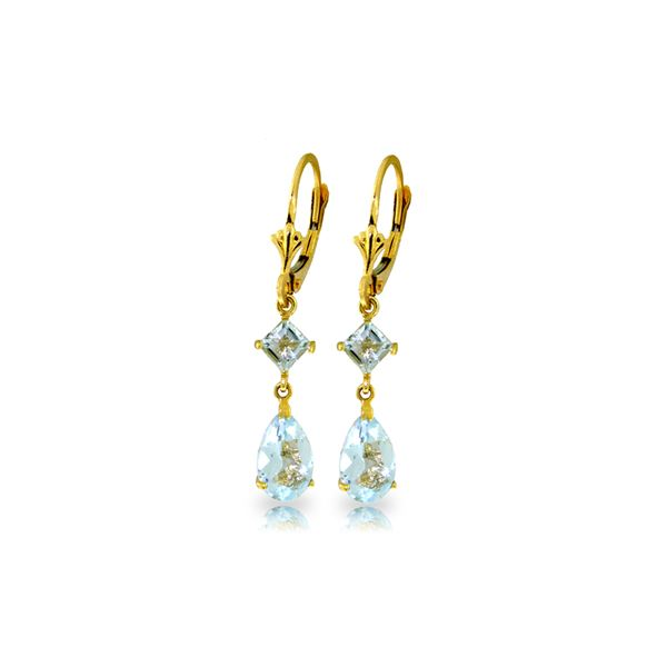 Genuine 4.5 ctw Aquamarine Earrings 14KT Yellow Gold - REF-54M5T