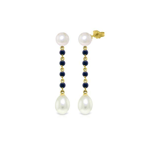 Genuine 11 ctw Pearl & Sapphire Earrings 14KT Yellow Gold - REF-31N4R