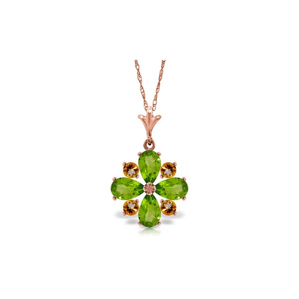 Genuine 2.43 ctw Peridot & Citrine Necklace 14KT Rose Gold - REF-29A7K