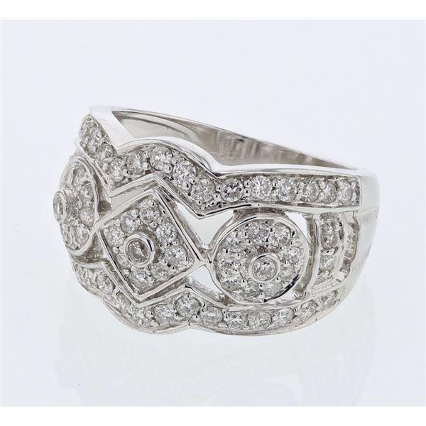 Natural 1.08 CTW Diamond Ring 18K White Gold - REF-176W4H
