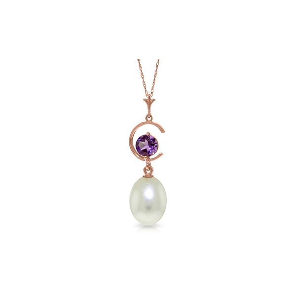 Genuine 4.5 ctw Pearl & Amethyst Necklace 14KT Rose Gold - REF-20M5T