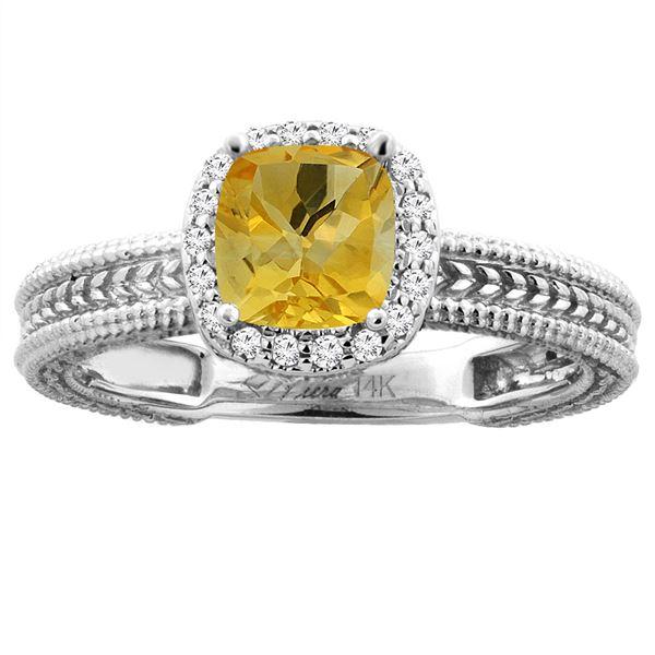 1.60 CTW Citrine & Diamond Ring 14K White Gold - REF-45W3F