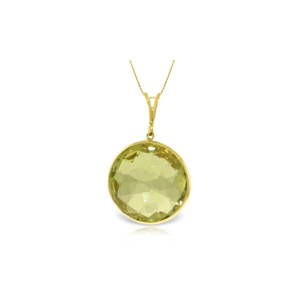 Genuine 17 ctw Quartz Lemon Necklace 14KT Yellow Gold - REF-44R4P