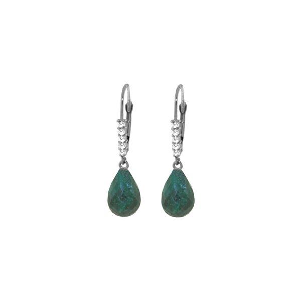 Genuine 17.75 ctw Green Sapphire Corundum & Diamond Earrings 14KT White Gold - REF-41M6T