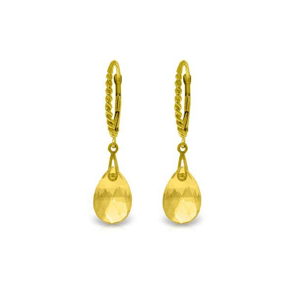 Genuine 6 ctw Citrine Earrings 14KT Yellow Gold - REF-30H6X