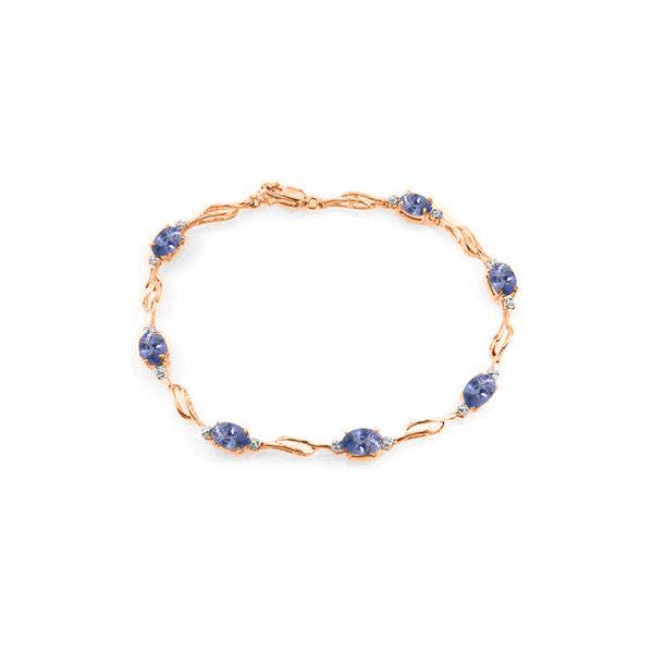 Genuine 3.01 ctw Tanzanite & Diamond Bracelet 14KT Rose Gold - REF-115V3W