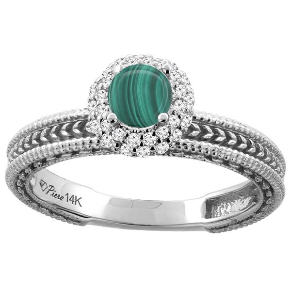 1.61 CTW Malachite & Diamond Ring 14K White Gold - REF-53H5M