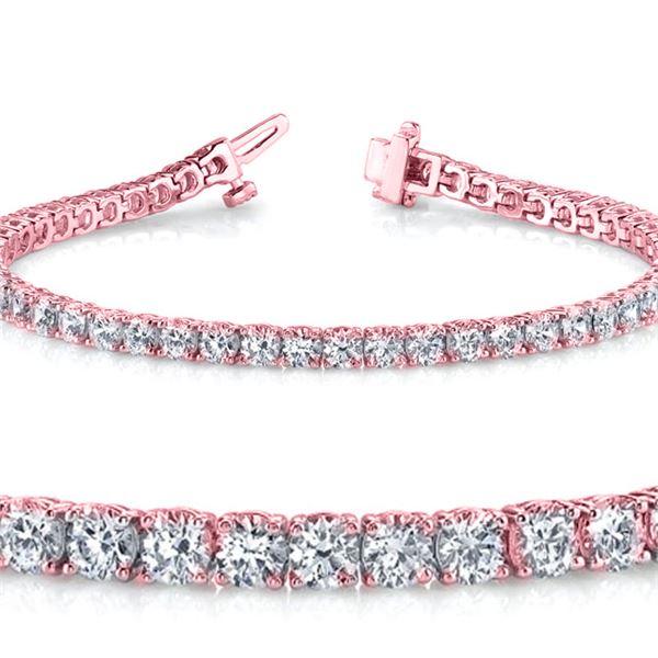 Natural 5.04ct VS2-SI1 Diamond Tennis Bracelet 18K Rose Gold - REF-462K5H