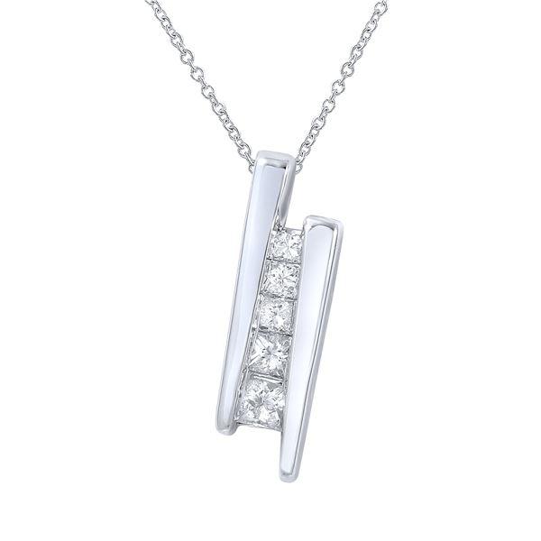 Natural 0.25 CTW Princess Diamond Necklace 14K White Gold - REF-39T6X