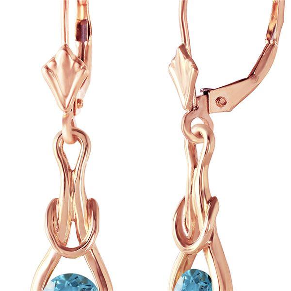 Genuine 1.30 ctw Blue Topaz Earrings 14KT Rose Gold - REF-49K3V