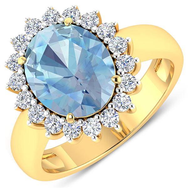 Natural 3.24 CTW Aquamarine & Diamond Ring 14K Yellow Gold - REF-123T3H