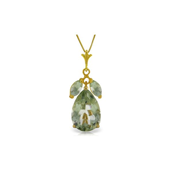 Genuine 6.5 ctw Green Amethyst Necklace 14KT Yellow Gold - REF-38W6Y