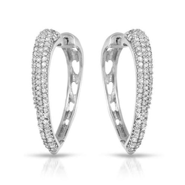 Natural 0.55 CTW Diamond Earrings 14K White Gold - REF-62F3M