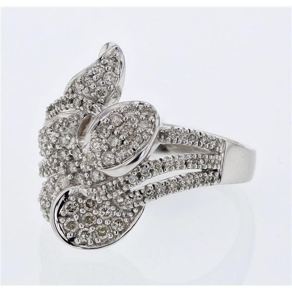 Natural 0.93 CTW Diamond Ring 18K White Gold - REF-180N2Y