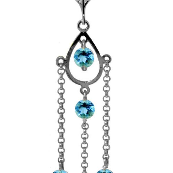 Genuine 1.50 ctw Blue Topaz Necklace 14KT White Gold - REF-29F7Z