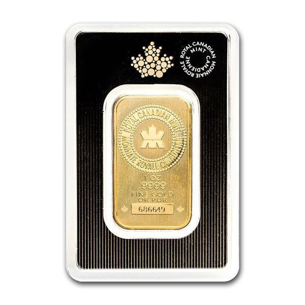 Genuine 1 oz 0.9999 Fine Gold Bar - Royal Canadian Mint