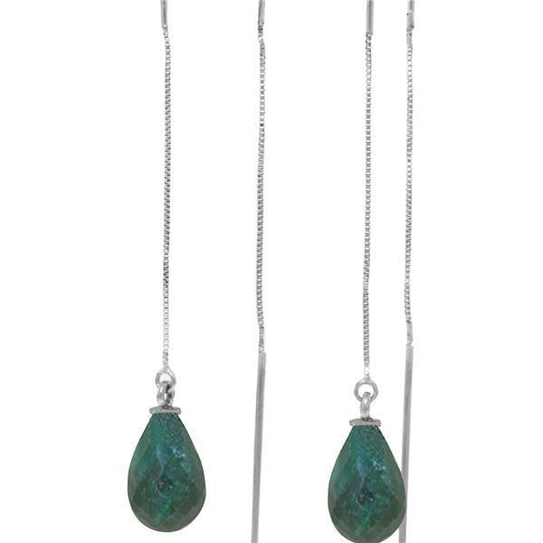 Genuine 6.6 ctw Green Sapphire Corundum Earrings 14KT White Gold - REF-20M8T