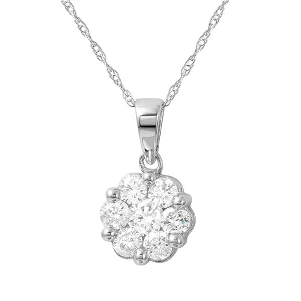 Natural 0.25 CTW Diamond Necklace 14K White Gold - REF-36K2R