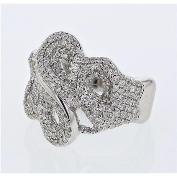 Natural 1.37 CTW Diamond Ring 14K White Gold - REF-182K7R